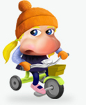 Nose character riding a bicycle